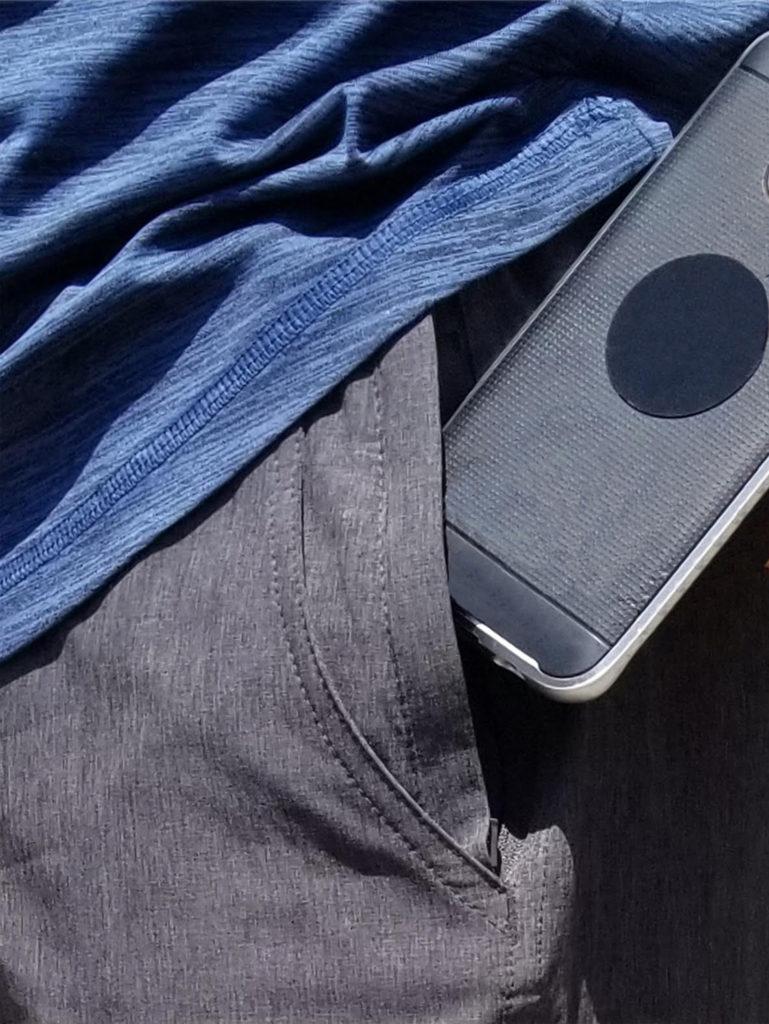 Sun Moon Truth Hybrid 24 Shorts - Grey Mens Shorts Hanging Front View front pocket blue shirt